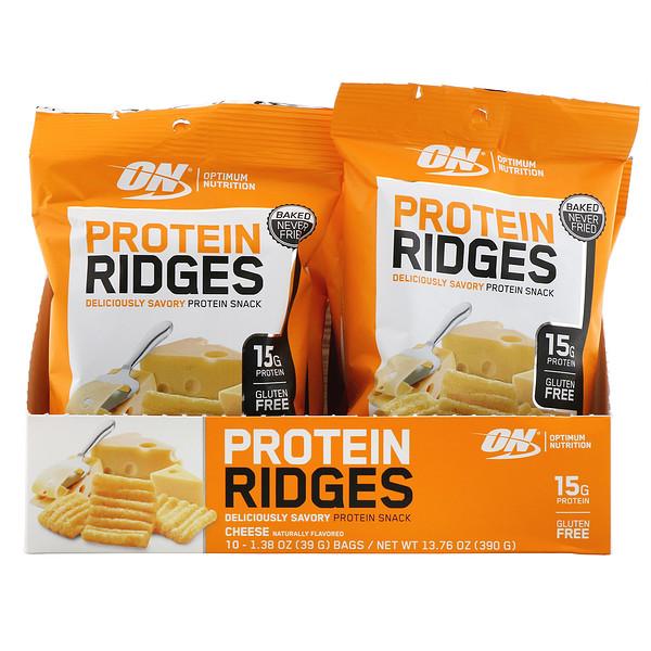 Optimum Nutrition, Protein Ridges, Cheese, 10 Bags, 1.38 oz (39 g) Each