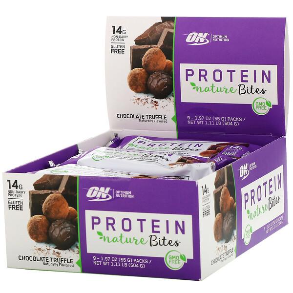 Protein Nature Bites, Chocolate Truffle, 9 Packs, 1.97 oz (56 g) Each