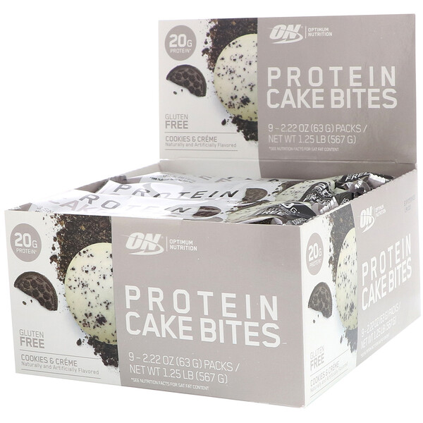 Optimum Nutrition, Protein Cake Bites, Cookies & Creme, 9 Bars, 2.22 oz (63 g) Each (Discontinued Item)