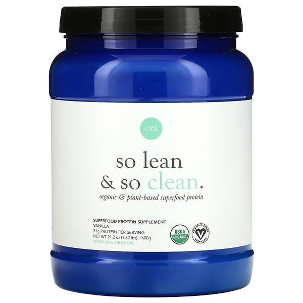 So Lean & So Clean, Organic & Plant-Based Superfood Protein, Vanilla, 21.2 oz (600 g)