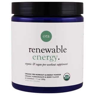 Ora, Renewable Energy, Organic Pre-Workout & Energy Powder, Pomegranate & Berry, 7.1 oz (200 g)