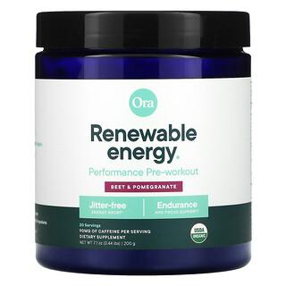 Ora, Renewable Energy, Performance Pre-Workout, Beet & Pomegranate, 0.44 lbs (200 g)