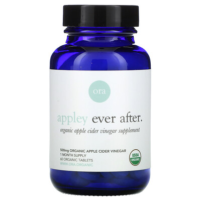 Ora Appley Ever After, Organic Apple Cider Vinegar Supplement, 500 mg, 60 Organic Tablets