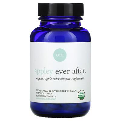 Ora Appley Ever After, Organic Apple Cider Vinegar Supplement, 500 mg, 60 Organic Tablets