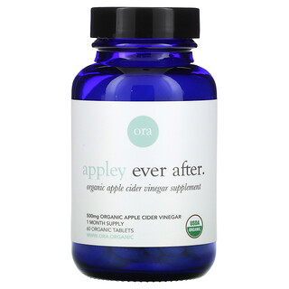 Ora, Appley Ever After, Organic Apple Cider Vinegar Supplement, 500 mg , 60 Organic Tablets
