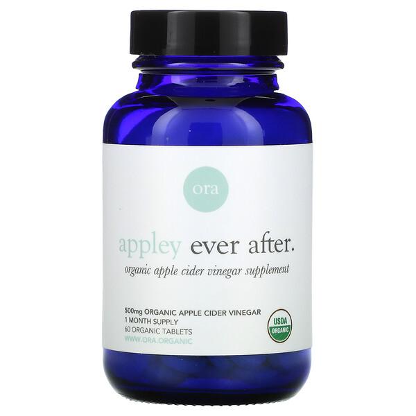 Appley Ever After, Organic Apple Cider Vinegar Supplement, 500 mg , 60 Organic Tablets