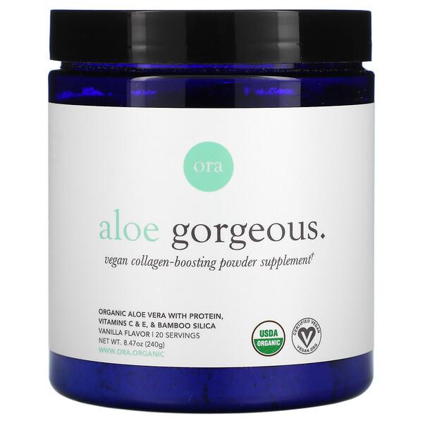 Aloe Gorgeous, Vegan Collagen-Boosting Powder Supplement, Vanilla Flavor, 8.47 oz (240 g)