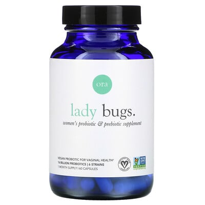 Ora Lady Bugs, Women's Probiotic & Prebiotic Supplement, 60 Capsules