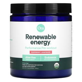 Ora, Renewable Energy, Performance Pre-Workout, Raspberry Lemonade, 0.44 lbs (200 g)