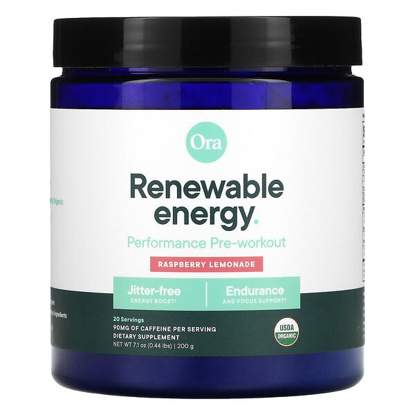 Renewable Energy, Organic & Vegan Pre-Workout Powder, Raspberry Lemonade Flavor, 7.1 oz (200 g)