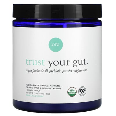 Ora Trust Your Gut, Vegan Probiotic & Prebiotic Powder Supplement, Organic Apple & Raspberry , 7.9 oz (225 g)