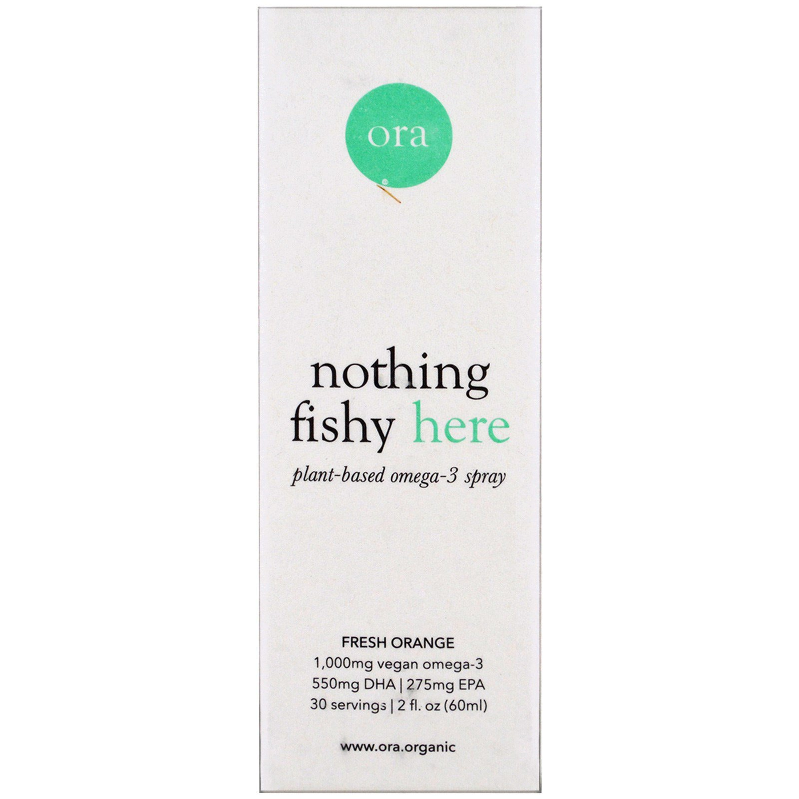 Ora, Nothing Fishy Here, Plant-Based Omega-3 Spray, Fresh Orange , 2 fl oz (60 ml)