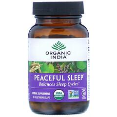 Organic India, Peaceful Sleep,90 粒素食膠囊
