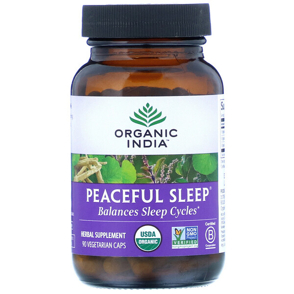 Organic India, Peaceful Sleep, 90 Vegetarian Caps