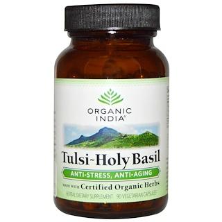 Organic India, Тулси-священный базилик, 90 вегетарианских капсул