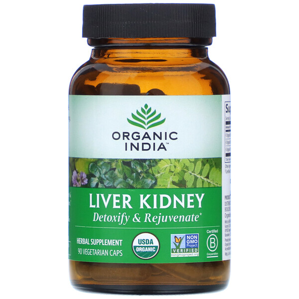 Organic India, Liver Kidney, 90 Vegetarian Caps