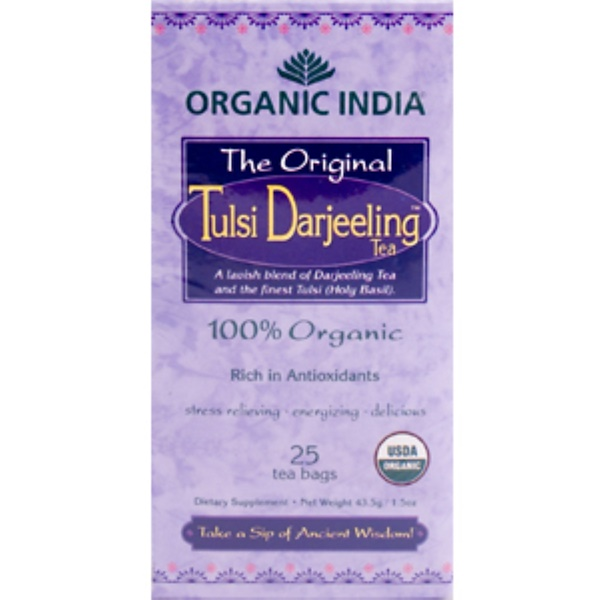 Organic India, The Original Tulsi Darjeeling Tea, 100% Organic, 25 Tea Bags, 43.5 g / 1.50 oz (Discontinued Item)