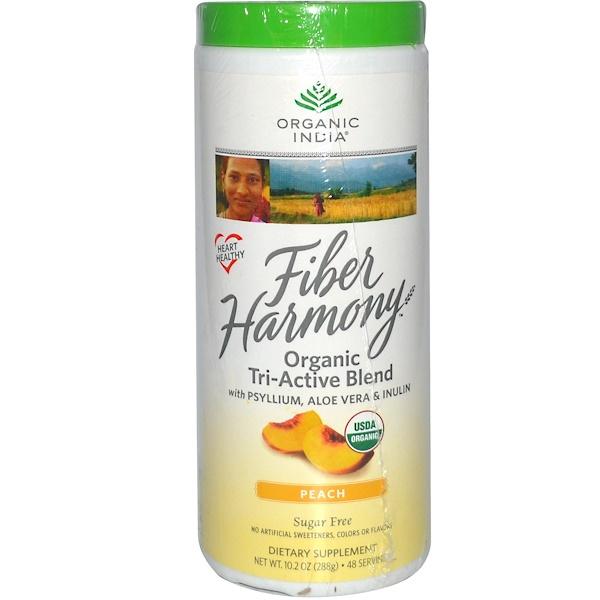 Organic India, Fiber Harmony, Organic Tri-Active Blend, Sugar Free, Peach, 10.2 oz (288 g) (Discontinued Item)