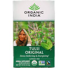 Organic India, 圖爾西茶,原配方,無咖啡萃取,18 液袋,1.14 盎司(32.4 克)