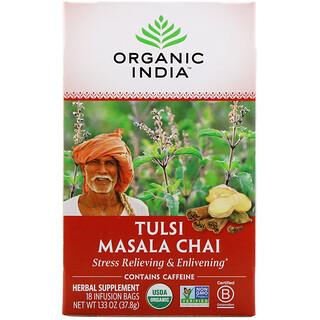 Organic India, Tulsi Tea, Masala Chai, 18 Infusion Bags, 1.33 oz (37.8 g)