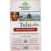 Tulsi Tea, Red Chai Masala, Caffeine-Free, 18 Tea Bags, 1.21 oz (34.2 g) - фото