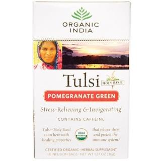 Organic India, Tulsi Holy Basil Tea, Pomegranate Green, 18 Infusion Bags, 1.27 oz (36 g)