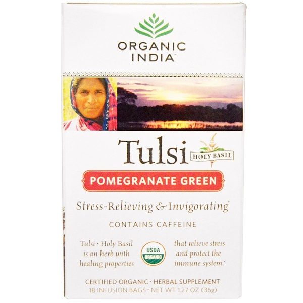 Organic India, Tulsi Holy Basil Tea, Pomegranate Green, 18 Infusion Bags, 1.27 oz (36 g)