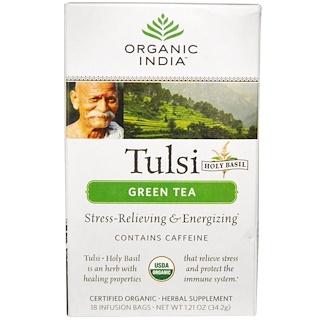 Organic India, トゥルシーホーリーバジル茶、緑茶、18注入バッグ、1.21 oz (34.2 g)
