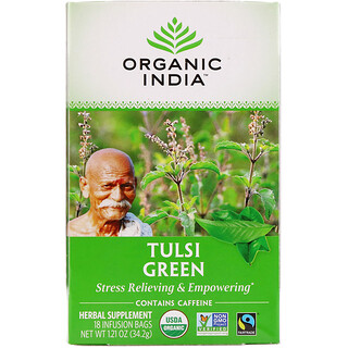 Organic India, Tulsi Tea, Green, 18 Infusion Bags, 1.21 oz (34.2 g)