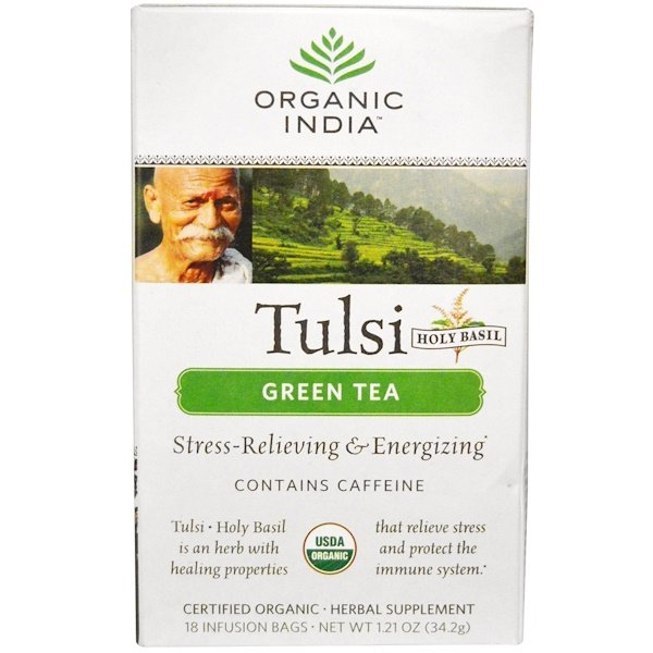 Organic India, Tulsi Holy Basil Tea, Green Tea, 18 Infusion Bags, 1.21 oz (34.2 g)