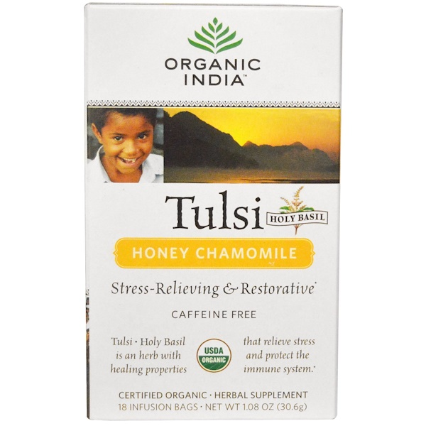 Organic India, Tulsi Tea, Honey Chamomile, Caffeine-Free, 1.08 oz (30.6 g), 18 Tea Bags