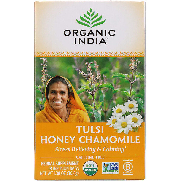 Tulsi Tea, Honey Chamomile, Caffeine-Free, 18 Infusion Bags, 1.08 oz (30.6 g)