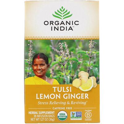 Купить Organic India Tulsi Tea, Lemon Ginger, Caffeine-Free, 18 Infusion Bags, 1.27 oz (36 g)