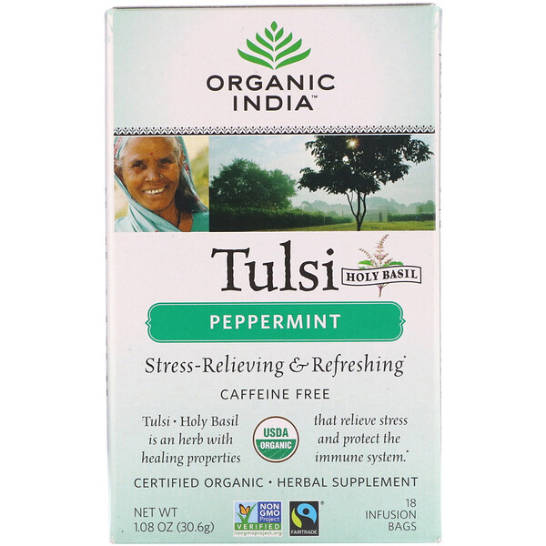 Organic India, Tulsi Tea, Peppermint, Caffeine-Free, 18 Infusion Bags, 1.08 oz (30.6 g)