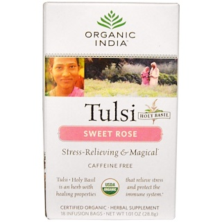 Organic India, Tulsi Holy Basil Tea, Sweet Rose, Caffeine Free, 18 Infusion Bags, 1.01 oz (28.8 g)