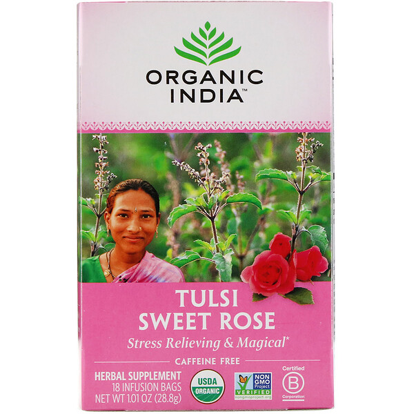 Tulsi Tea, Sweet Rose, Caffeine Free, 18 Infusion Bags, 1.01 oz (28.8 g)