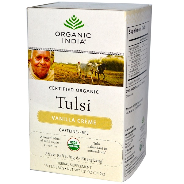 Organic India, Tulsi Tea, Vanilla Creme, Caffeine Free, 18 Tea Bags, 1.21 oz (34.2 g) (Discontinued Item)