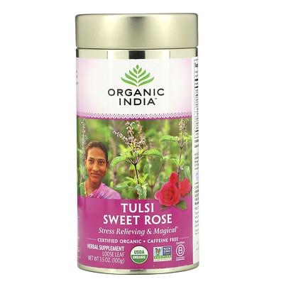 Organic India тулси— сладкая роза, без кофеина, 100г (3, 5унции)  - купить со скидкой
