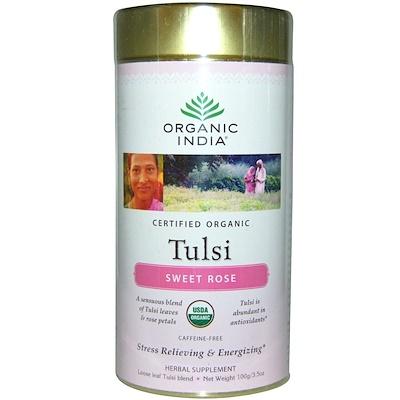 Tulsi Loose Leaf Blend Tea, Sweet Rose, Caffeine-Free, 3.5 oz (100 g) цена в Москве и Питере