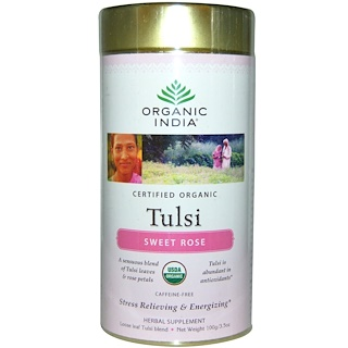Organic India, Loose Leaf Tulsi Blend Tea, Sweet Rose, Caffeine-Free, 3.5 oz (100 g)