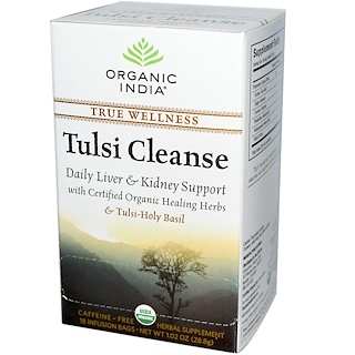 Organic India, Tulsi Cleanse Tea, Caffeine-Free, 18 Infusion Bags, 1.02 oz (28.8 g)