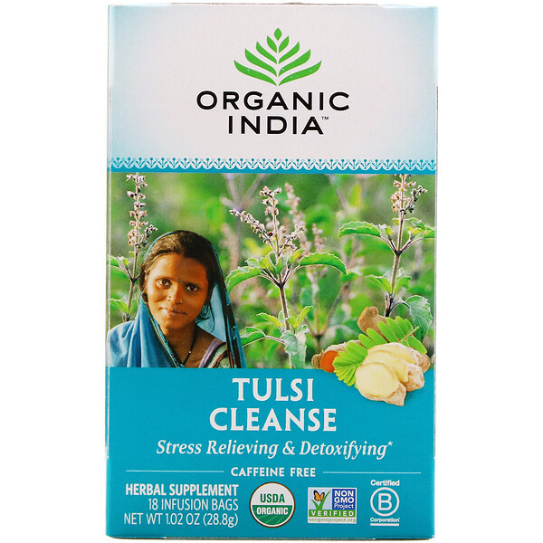 Organic India, Tulsi Cleanse Tea, 무카페인, 18 티백, 28.8g(1.02oz)