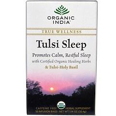 Organic India, Tulsi Chá para dormir, sem cafeína, 18 saquinhos de infusão, 1.14 oz (32.4 g)