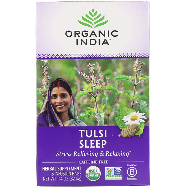 Organic India, Tulsi Sleep, Caffeine Free, 18 Infusion Bags, 1.14 oz (32.4 g)