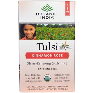Organic India, Tulsi Holy Basil Tea, Cinnamon Rose, Caffeine-Free, 18 Infusion Bags, 1.14 oz (32.4 g)