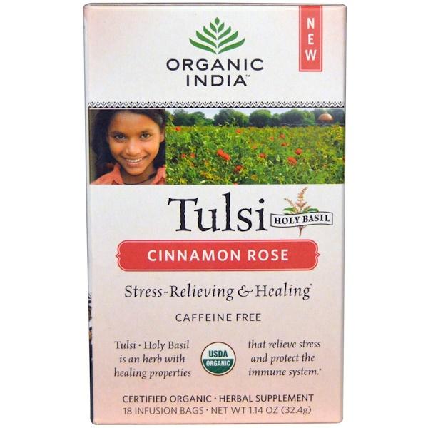 Organic India, Té de albaca Tulsi Santo, sin cafeína, Canela y rosa, 18 saquitos de infusión, 1.14 oz (32.4 g)