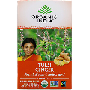 Органик Индиа, Tulsi Tea, Ginger, Caffeine-Free, 18 Infusion Bags, 1.10 oz (31.3 g) отзывы
