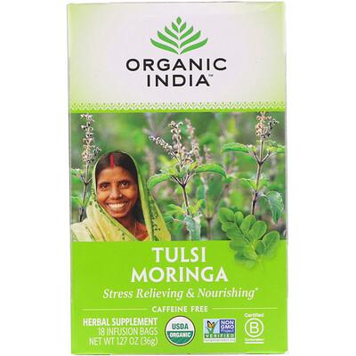 Купить Organic India Tulsi Tea, Moringa, Caffeine Free, 18 Infusion Bags, 1.27 oz (36 g)