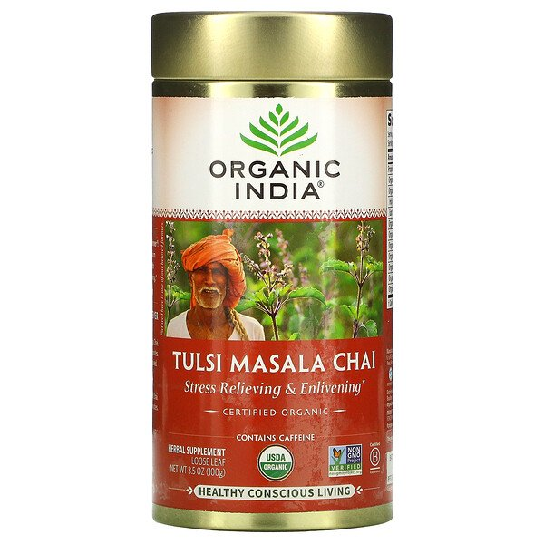 Tulsi Masala Chai, Stress Relieving & Enlivening, Loose Leaf, 3.5 oz (100 g)