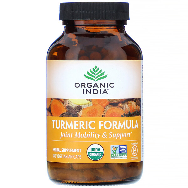 Organic India, Turmeric Formula, Joint Mobility & Support, 180 Vegetarian Caps